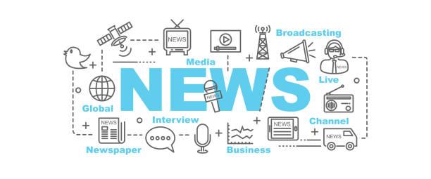 stockillustraties, clipart, cartoons en iconen met news vector banner - journalist