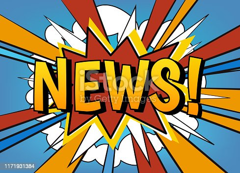 News banner vector template. Comic style speech dialog bubble with wow explosion effect, rays and text