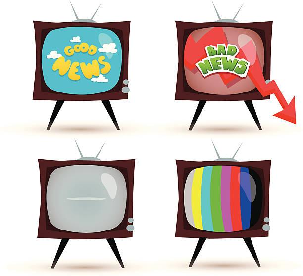 TV news Illustration of set of TV sets. AI CS5, PDF, PNG files included. good news stock illustrations