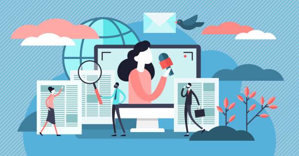 stockillustraties, clipart, cartoons en iconen met nieuws vector illustratie. platte kleine tv en nieuwsbrief lees personen concept. - journalist