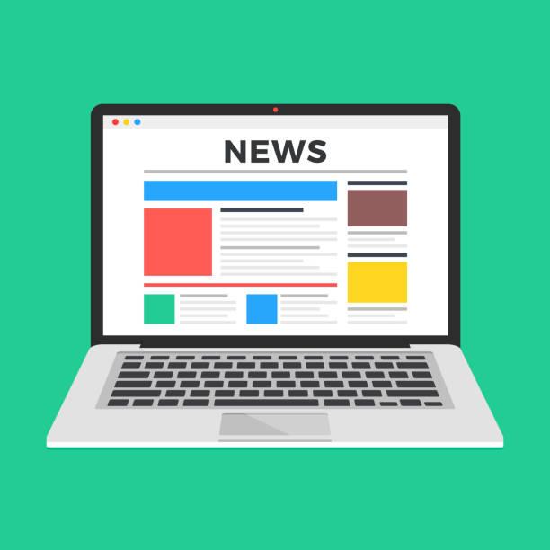 stockillustraties, clipart, cartoons en iconen met nieuwswebsite op laptop scherm. online nieuws. moderne platte ontwerp vectorillustratie - nieuwsevenement