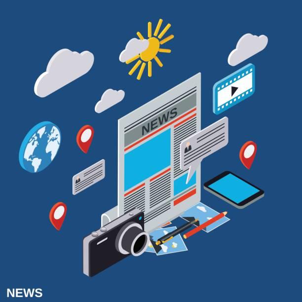 bildbanksillustrationer, clip art samt tecknat material och ikoner med nyhetssändning, information, journalistik, massmedia vektor koncept - paper mass