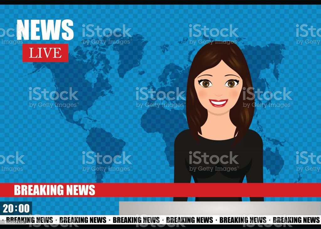 Newscaster woman reports breaking news. News vector illustration.
