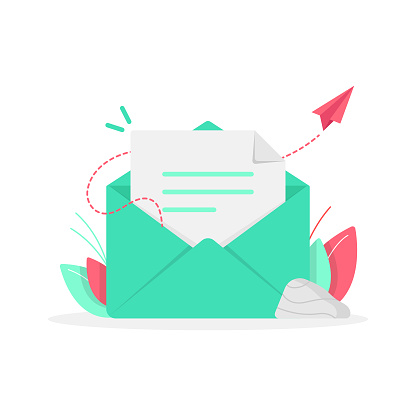 Newsletter and Email Subscribe Icon Flat Design.
