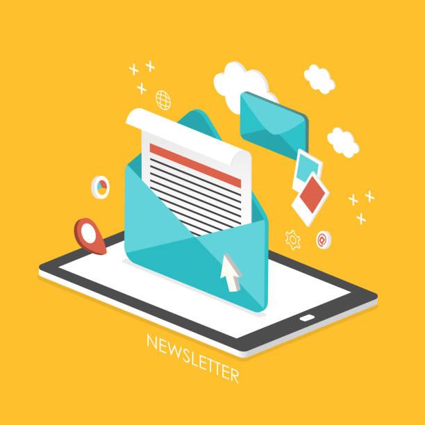 illustrazioni stock, clip art, cartoni animati e icone di tendenza di newsletter concetto 3d isometrici infografica - newsletter