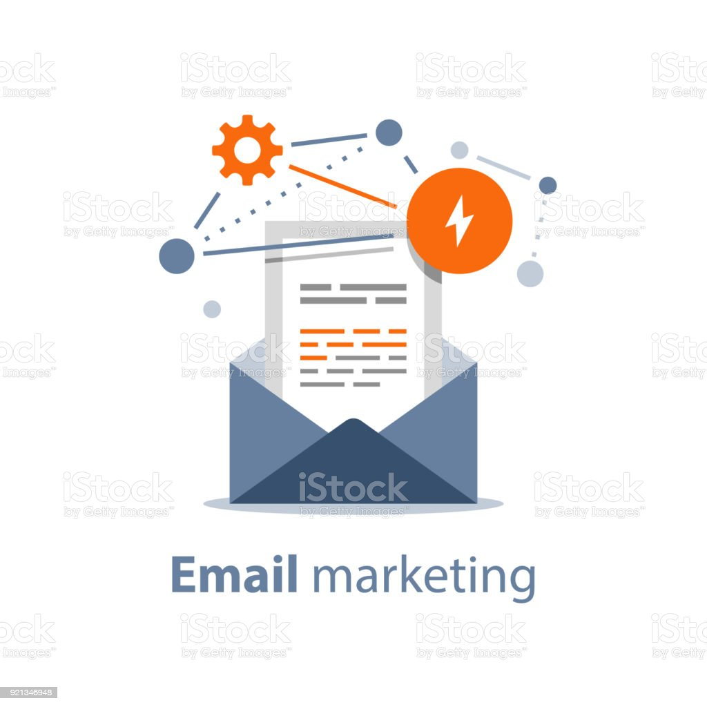 newsletter concept email marketing strategy opened envelope writing letter summary news rss