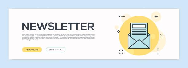 illustrazioni stock, clip art, cartoni animati e icone di tendenza di newsletter concept - flat line web banner - newsletter