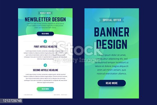 istock Newsletter, email design template, and vertical banner design template. 1212725745