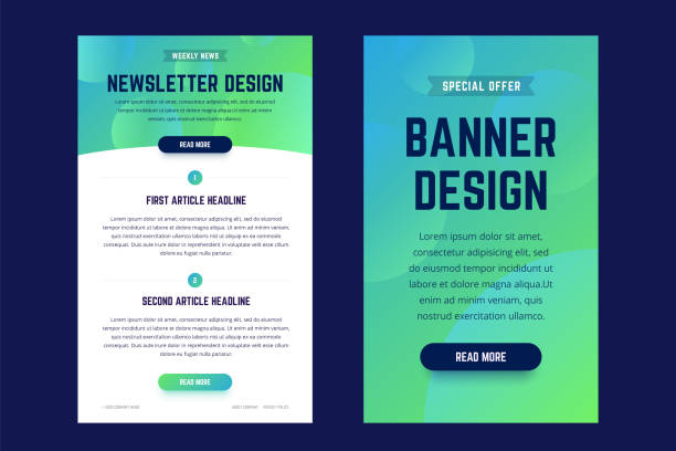 Newsletter, email design template, and vertical banner design template. Newsletter, email design template, and vertical banner design template. Modern gradient style with shapes on the background. Vector illustration for web email promotions and landing pages. email templates stock illustrations