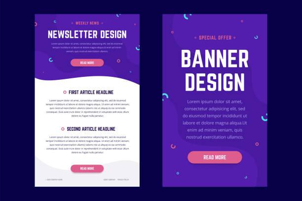 illustrazioni stock, clip art, cartoni animati e icone di tendenza di newsletter, email design template, and vertical banner design template. - newsletter