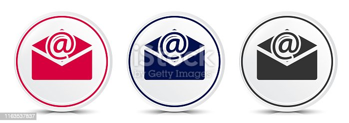 Newsletter email icon crystal flat round button set illustration design isolated on white background