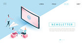 Email subscribe vector illustration concept, email marketing system, people use smartphone and subscribe, newsletter. isometric design style - web template, layout with copy space for text.