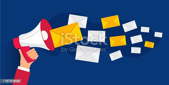 istock Newsletter. Email service concept as part of business, vector illustration 1197329430