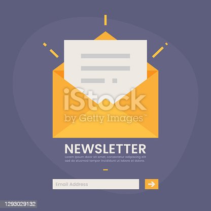 istock Newsletter Icon Vector Design on Color Background. 1293029132