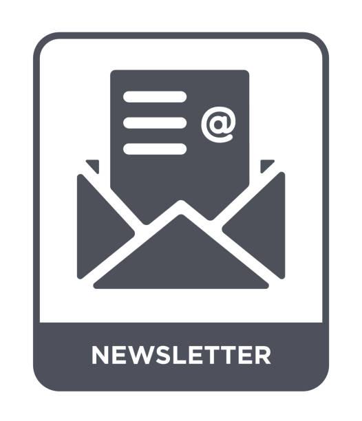 illustrazioni stock, clip art, cartoni animati e icone di tendenza di newsletter icon vector on white background, newsletter trendy filled icons from success collection - newsletter