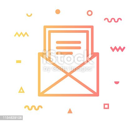 Newsletter outline style icon design with decorations and gradient color. Line vector icon illustration for modern infographics, mobile designs and web banners.