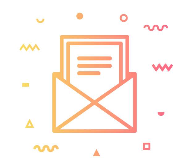 illustrazioni stock, clip art, cartoni animati e icone di tendenza di newsletter line style icon design - newsletter