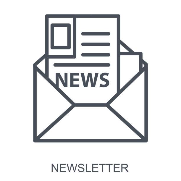 illustrazioni stock, clip art, cartoni animati e icone di tendenza di newsletter outline flat illustration concept. vector - newsletter
