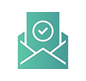 Newsletter planning design, gradient color painted by path of the icon with inner shadow. Papercut style graphic can also be used as simple vector template for silhouette illustrations.