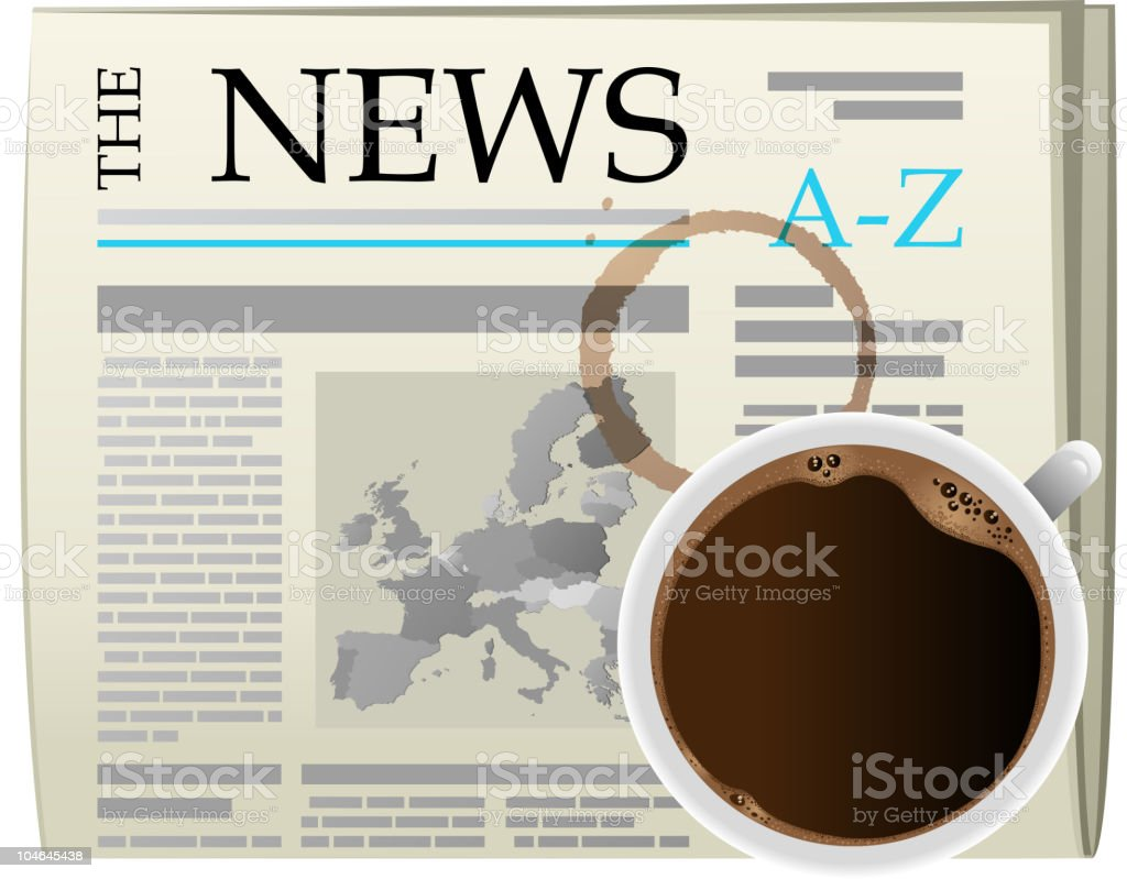 newspaper and coffee royalty-free stock vector art