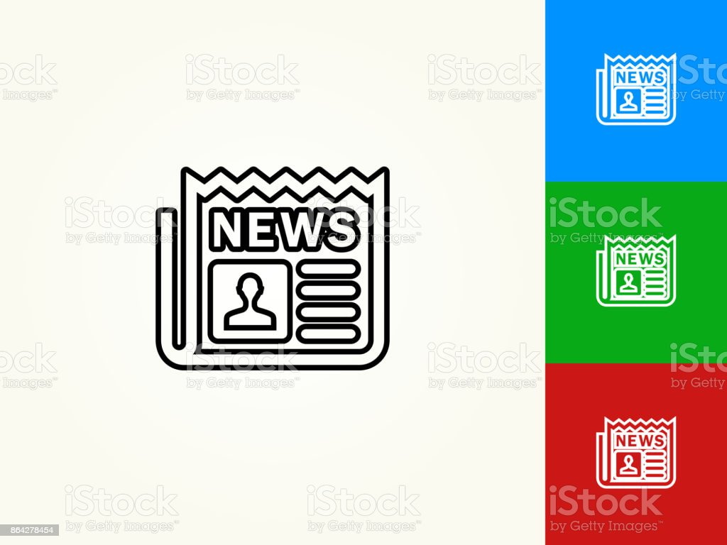 Newspaper Black Stroke Linear Icon royalty-free newspaper black stroke linear icon stock vector art & more images of article