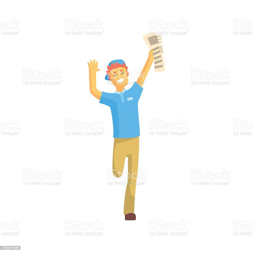 Newspaper Boy Running And Smiling newspaper boy running and smiling – cliparts vectoriels et plus d'images de adulte libre de droits