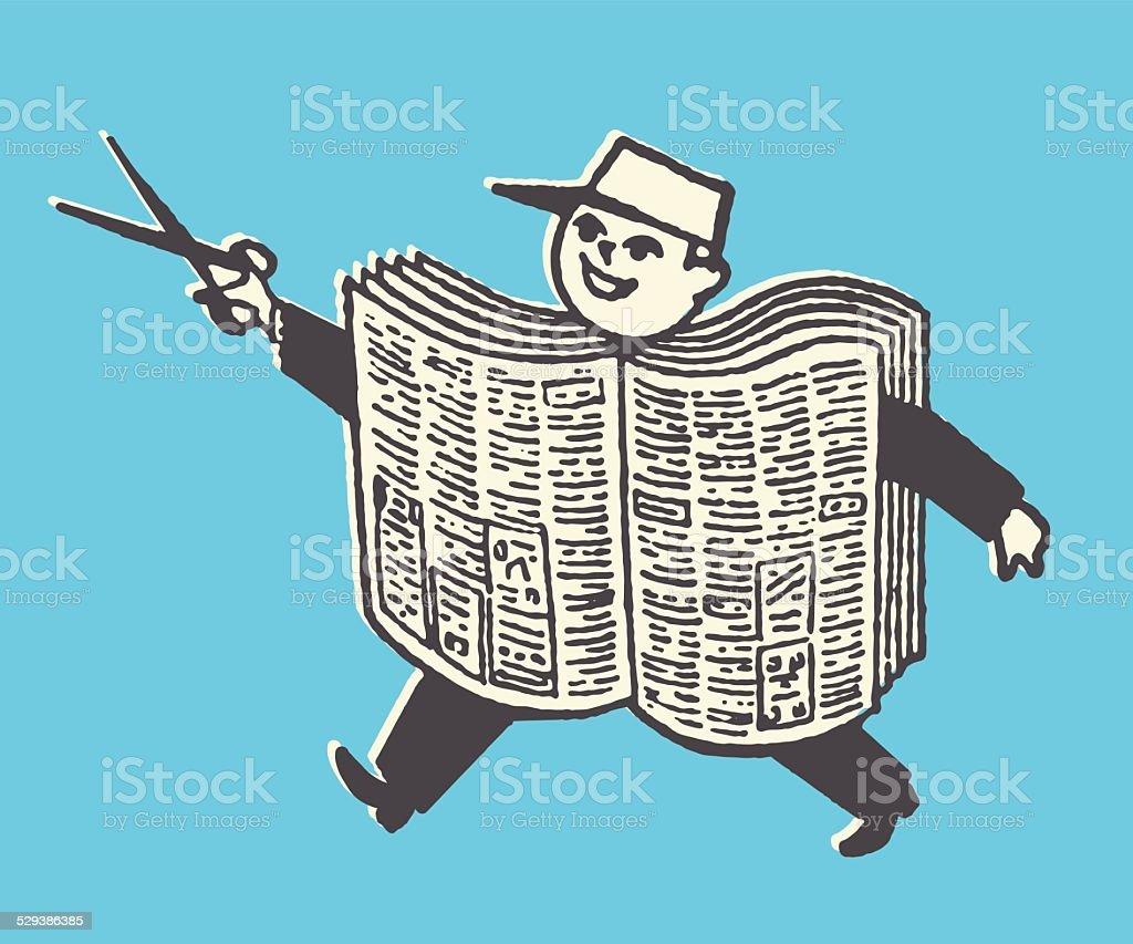 newspaper boy with scissors stock vector art 529386385 | istock