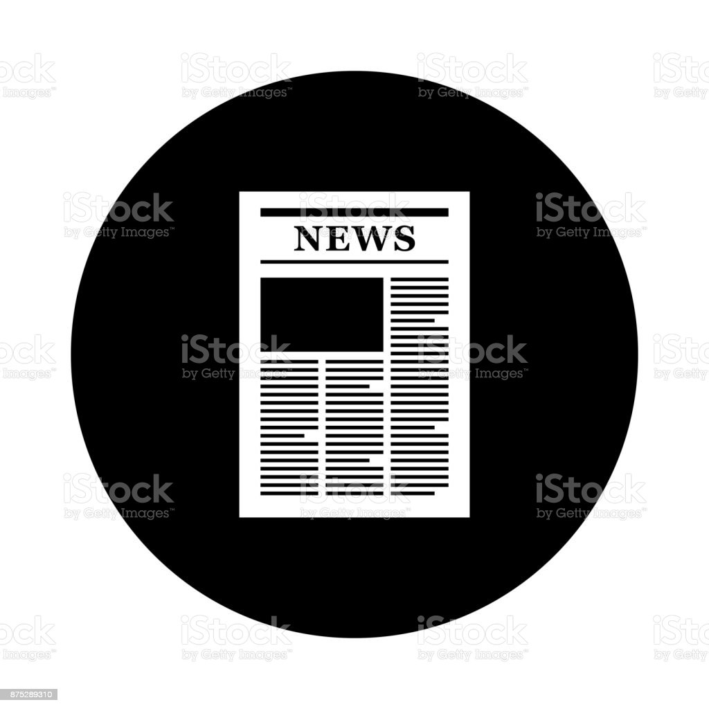 newspaper circle icon black round minimalist icon isolated on white