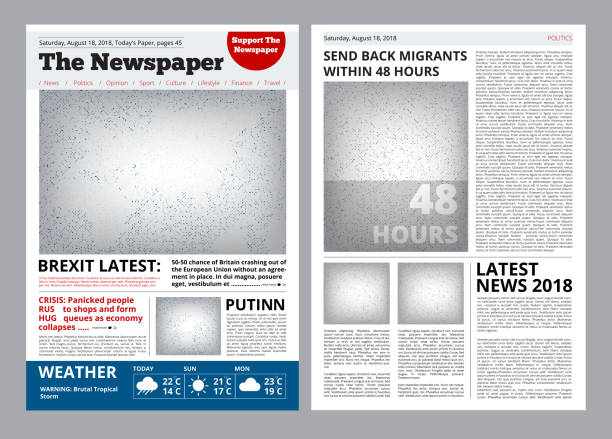 Newspaper design. Headline journal template with place for your text and images layout vector brochure Newspaper design. Headline journal template with place for your text and images layout vector brochure. Newspaper page with headline illustration magazine publication stock illustrations