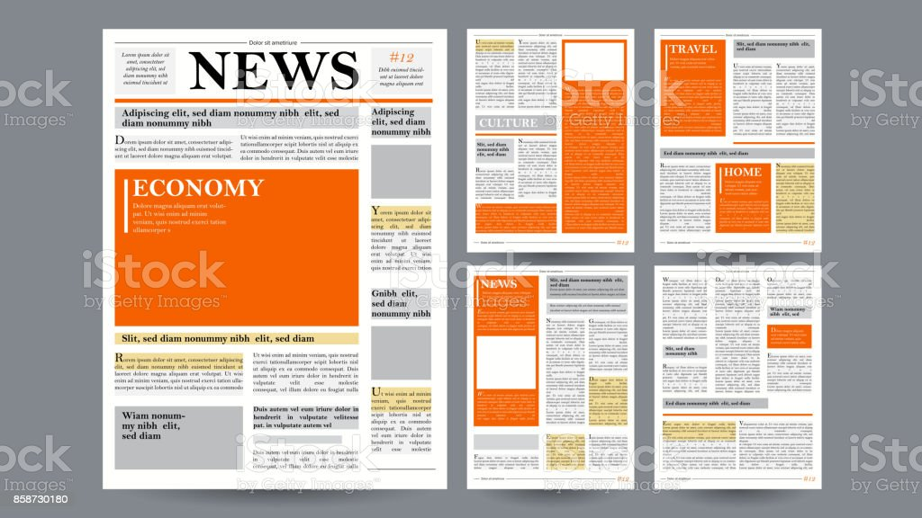 Newspaper Design Template Vector. Images, Articles, Business Information. Opening Editable Headlines Text Articles. Realistic Isolated Illustration vector art illustration