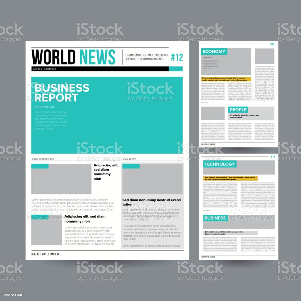 Newspaper Design Template Vector. Modern Newspaper Layout Template. Financial Articles, Business Information. World News Economy Headlines. Blank Spaces For Images. Isolated Illustration vector art illustration