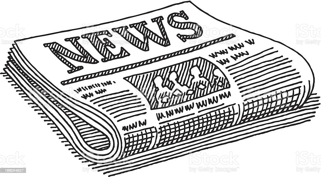 Newspaper Drawing vector art illustration
