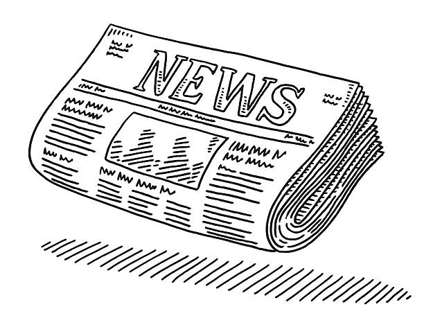 Newspaper Drawing Hand-drawn vector drawing of a Newspaper. Black-and-White sketch on a transparent background (.eps-file). Included files are EPS (v10) and Hi-Res JPG. alphabet clipart stock illustrations