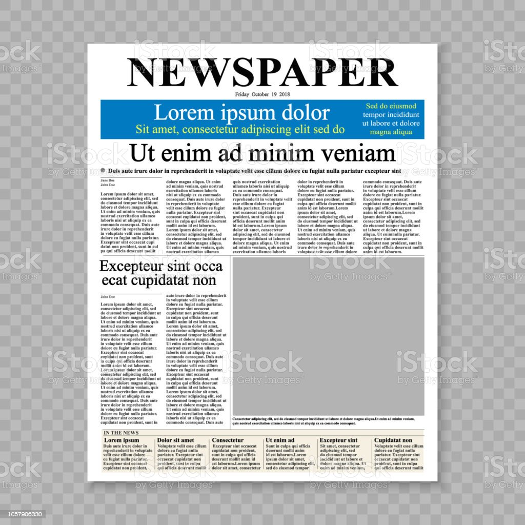 realistic newspaper front page template. vector illustration
