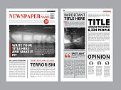 Newspaper front page with several columns and photos. Vector magazine cover. Layout design project