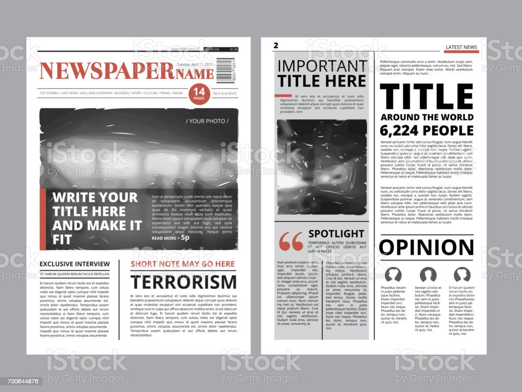Newspaper front page with several columns and photos. Vector magazine cover. Layout design project vector art illustration
