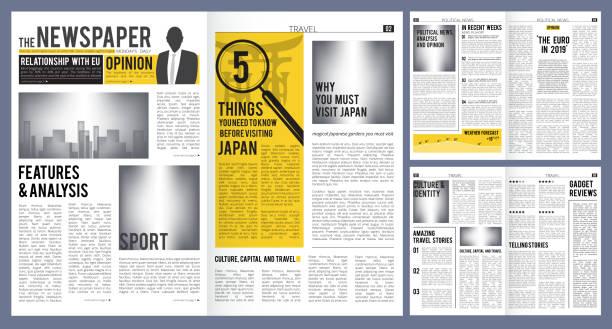 schlagzeilen. presserouche-vorlage von zeitungscover und seiten mit artikeln vektordesign - editorial stock-grafiken, -clipart, -cartoons und -symbole