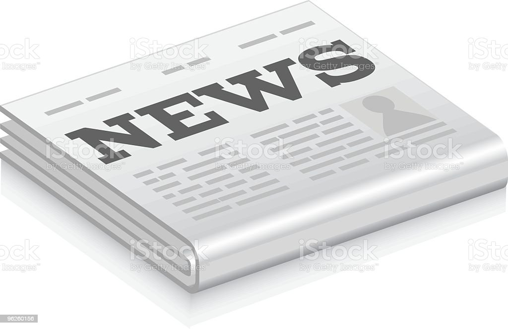 Newspaper icon against white background royalty-free stock vector art