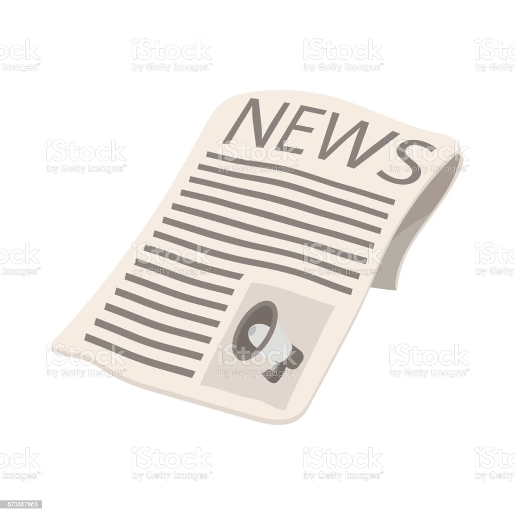 Newspaper icon, megaphone on cover, cartoon royalty-free newspaper icon megaphone on cover cartoon stock vector art & more images of advertisement