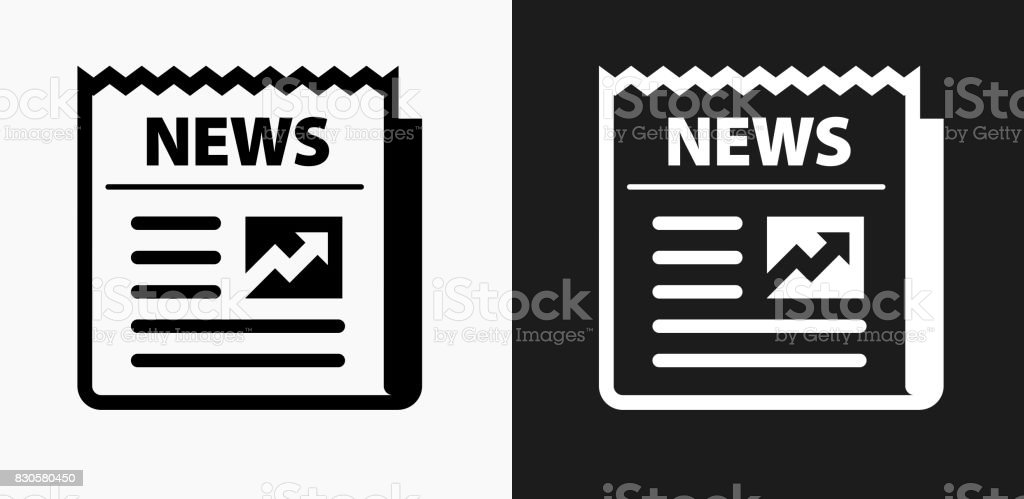 Newspaper Icon On Black And White Vector Backgrounds Royalty Free