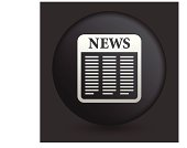 Newspaper Icon on Round Black Button Collection
