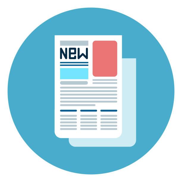 stockillustraties, clipart, cartoons en iconen met de knoop van het web van het pictogram van krant op ronde blauwe achtergrond - woman home magazine