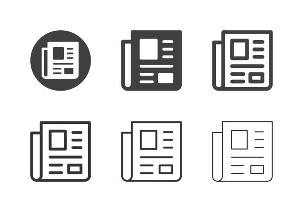 zeitungsikonen - multi series - publikation stock-grafiken, -clipart, -cartoons und -symbole