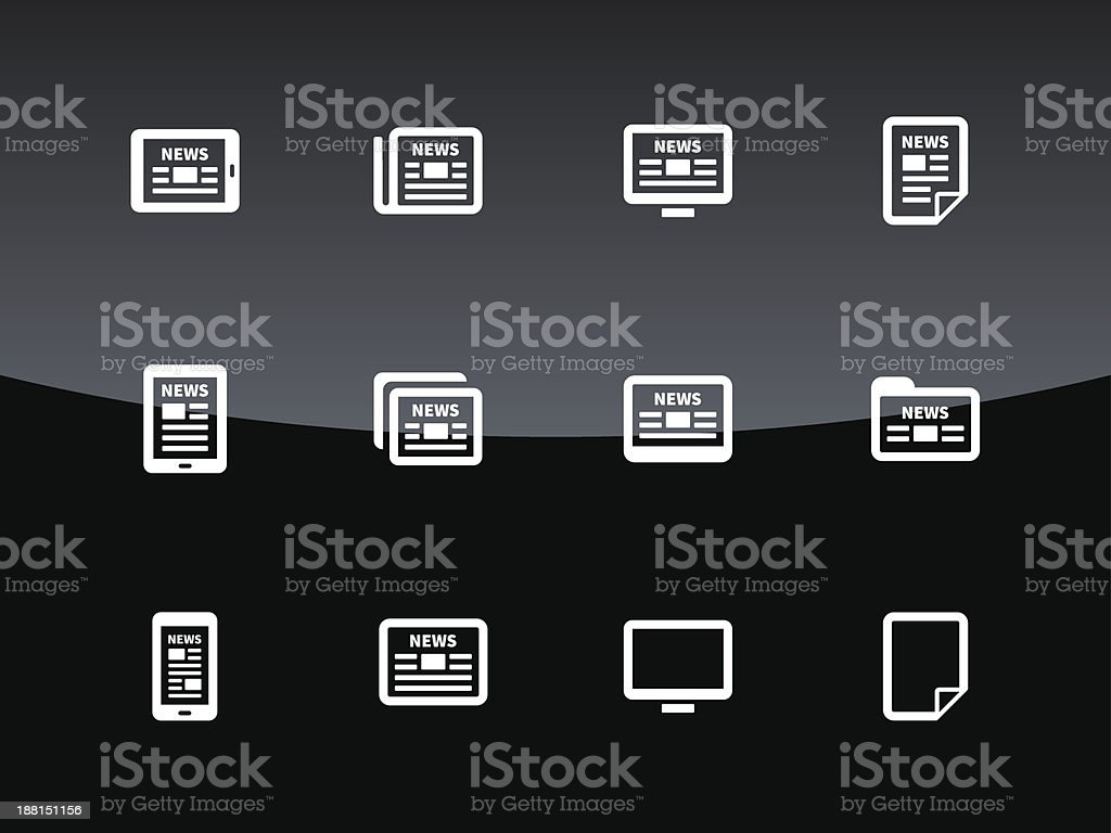 Newspaper icons on black background. royalty-free stock vector art