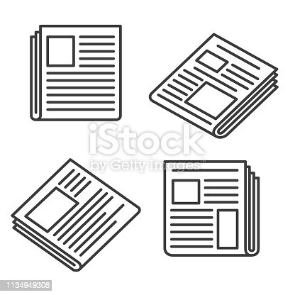 Newspaper icons. Small news press icon set for web, articles and broadsheet, website media and printing paper signs, vector illustration