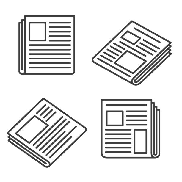 Newspaper icons set Newspaper icons. Small news press icon set for web, articles and broadsheet, website media and printing paper signs, vector illustration paper stock illustrations