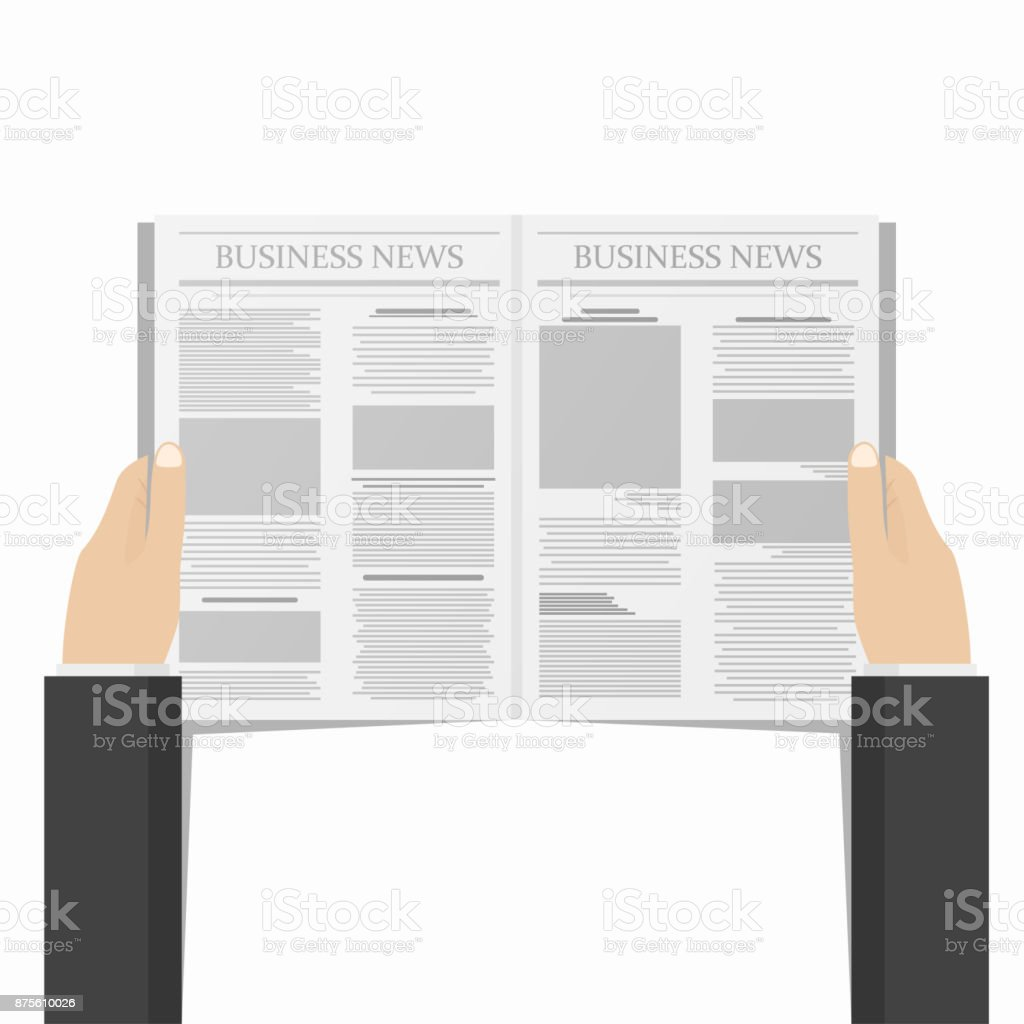Newspaper in businessman hands. Daily business news concept. View from above vector art illustration