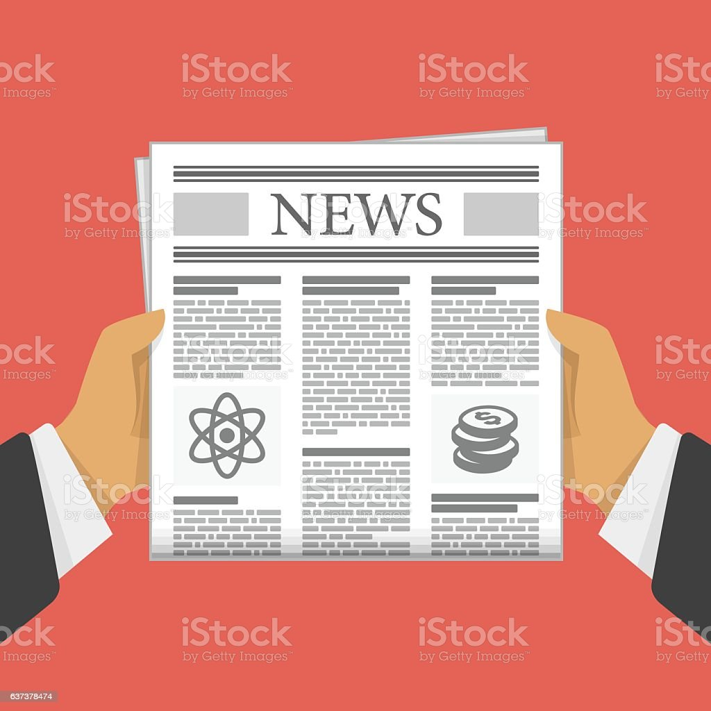 Newspaper in hand. vector art illustration