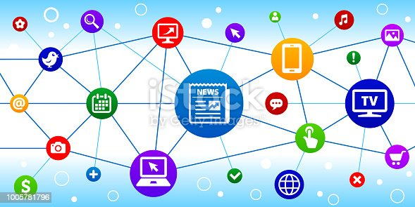 Newspaper Internet Communication Technology Triangular Node Pattern Background. The main icon is in the center of this illustration on a blue circle, it is connected to other circles with technology and modern communication icons on them. The colorful circles form a triangular node pattern and are connected by thin lines. The individual icons include various technology related images such as computers, cell phone, tv set and many more.