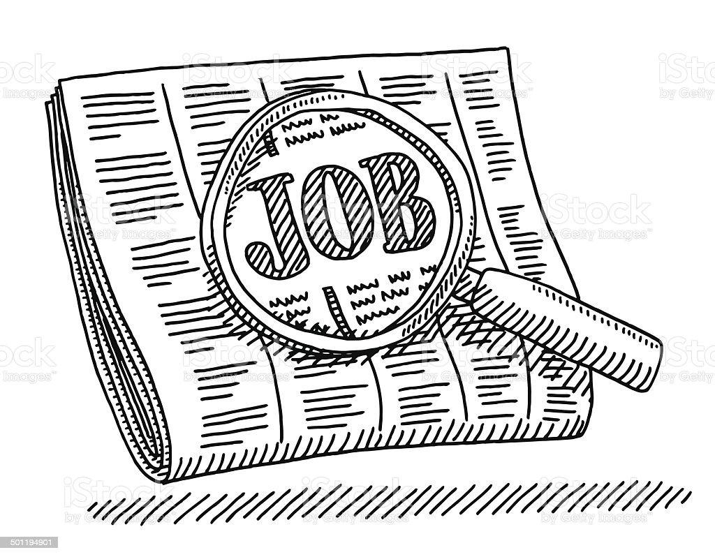 Zeitung job zylinderlupe zeichnung stock vektor art und - Dessin travail ...